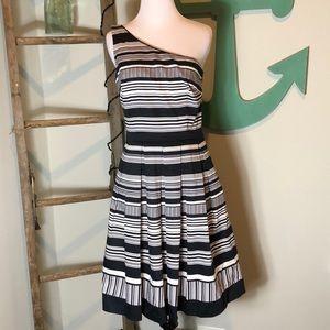 WHBM one shoulder stripped dress w/pockets- NWT